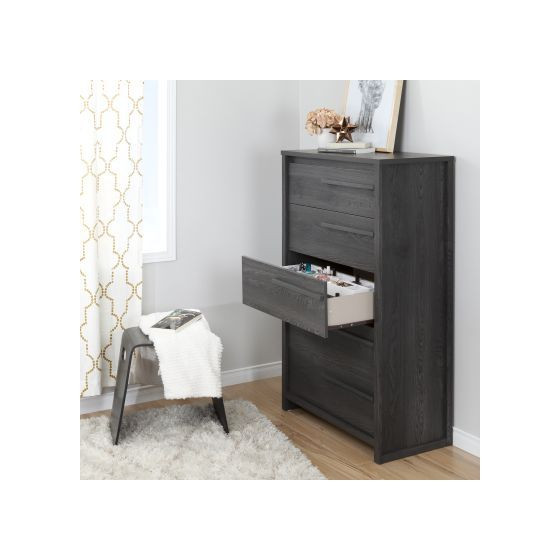 Tao Gray Oak 5-Drawer Chest with Jewelry Organizers Set