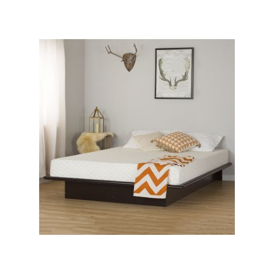 Step One Chocolate Queen Platform Bed and Mattress Set