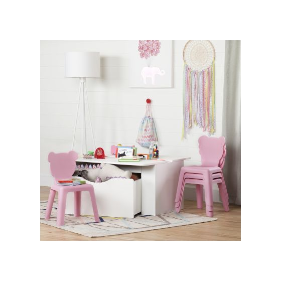Super Crea White Kids Activity Table And 4 Pink Plastic Chairs Set Machost Co Dining Chair Design Ideas Machostcouk