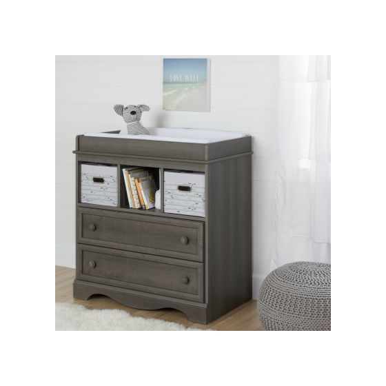 Savannah Gray Maple Changing Table With 2 Blue Baskets