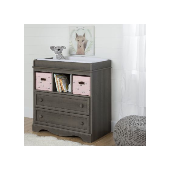 Savannah Gray Maple Changing Table with 2 Pink Baskets