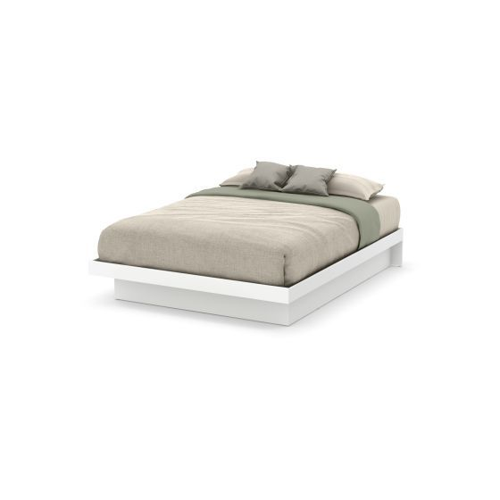 Basic Queen Platform Bed 60'') with Moldings Pure White