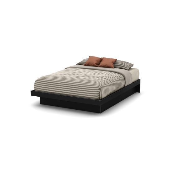 Basic Queen Platform Bed (60'') with Moldings Pure Black