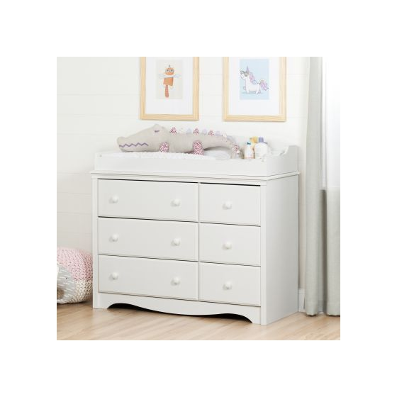 Angel Changing Table/Dresser with 6 Drawers Pure White