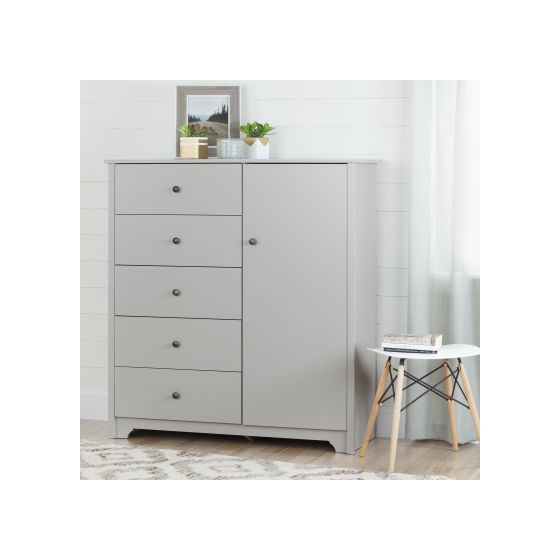 Vito Door Chest with 5 Drawers Soft Gray