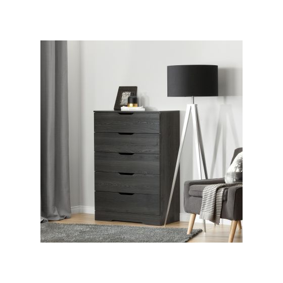 Holland 5-Drawer Chest Gray Oak