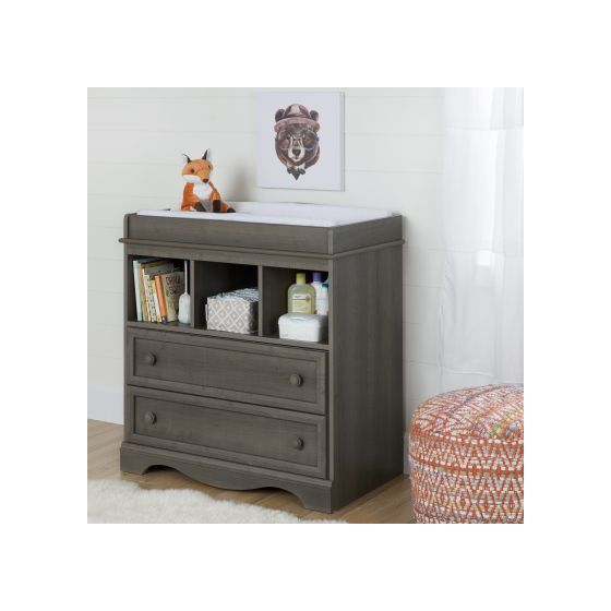 Savannah Changing Table With Drawers Gray Maple
