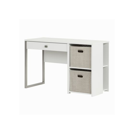 Interface Pure White Desk with Storage and Baskets