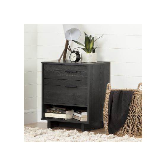 Fynn Nightstand with Drawers and Cord Catcher Gray Oak