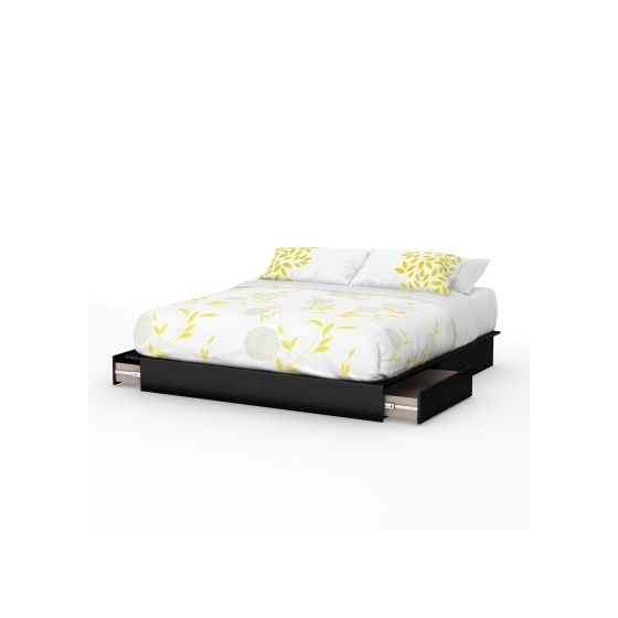 Step One King Platform Bed (78'') with Drawers Pure Black