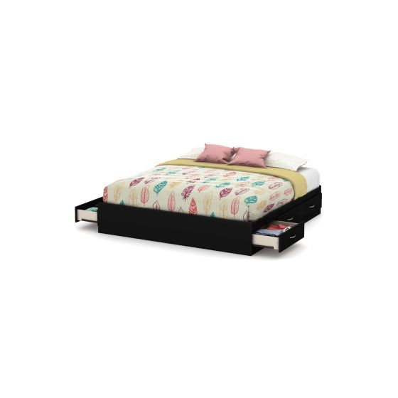Step One King Platform Bed (78'') with 6 Drawers Pure Black