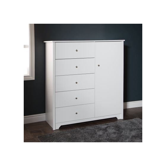 Vito Door Chest with 5 Drawers Pure White