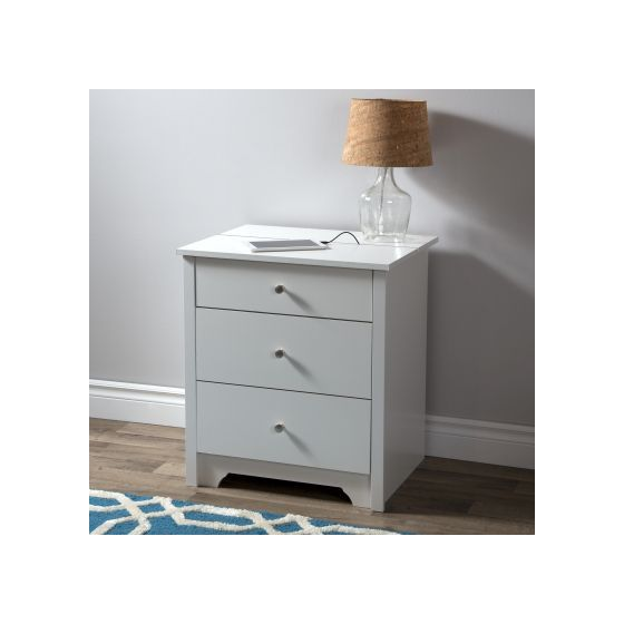 Vito Nightstand with Charging Station and Drawers White