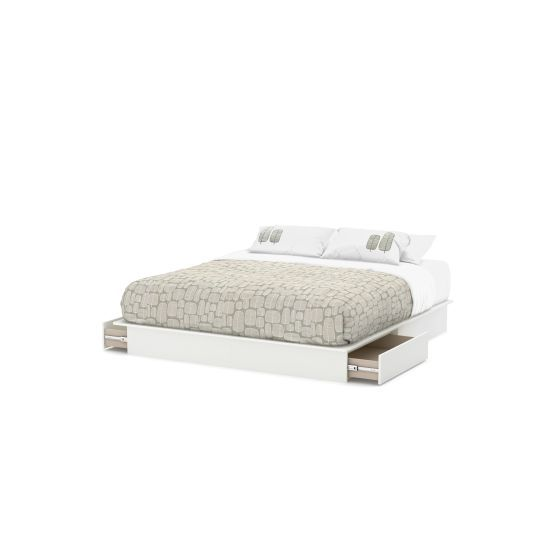 Step One King Platform Bed (78'') with Drawers Pure White
