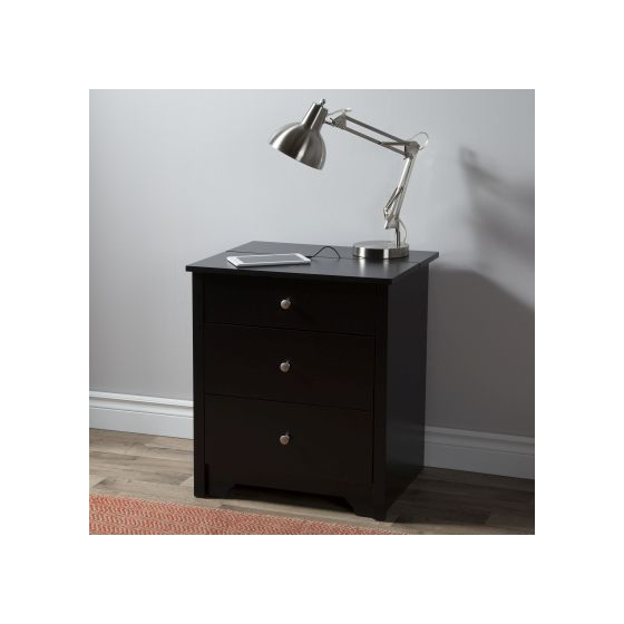 Vito Nightstand with Charging Station and Drawers in Black