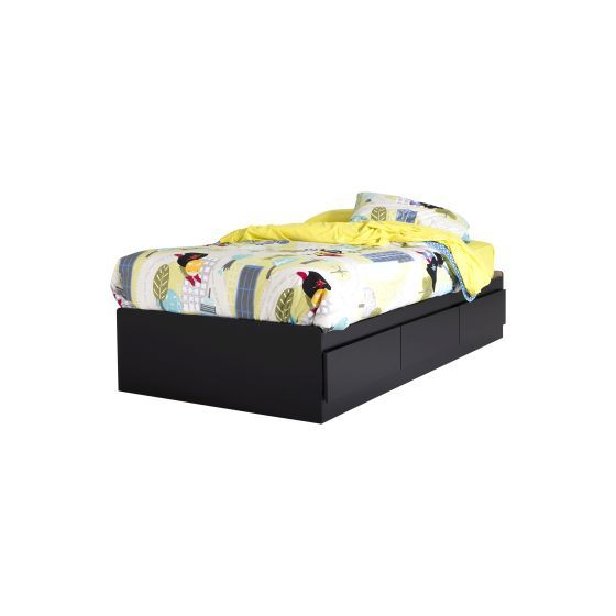Vito Twin Mates Bed with 3 Drawers Pure Black