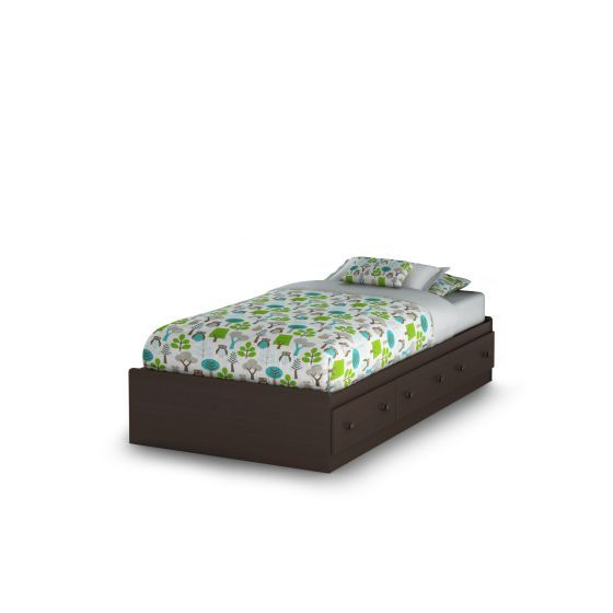 Summer Breeze Twin Mates Bed with 3 Drawers in Chocolate