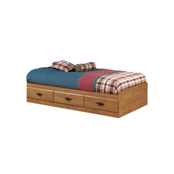 Prairie Twin Mates Bed with 3 Drawers Country Pine