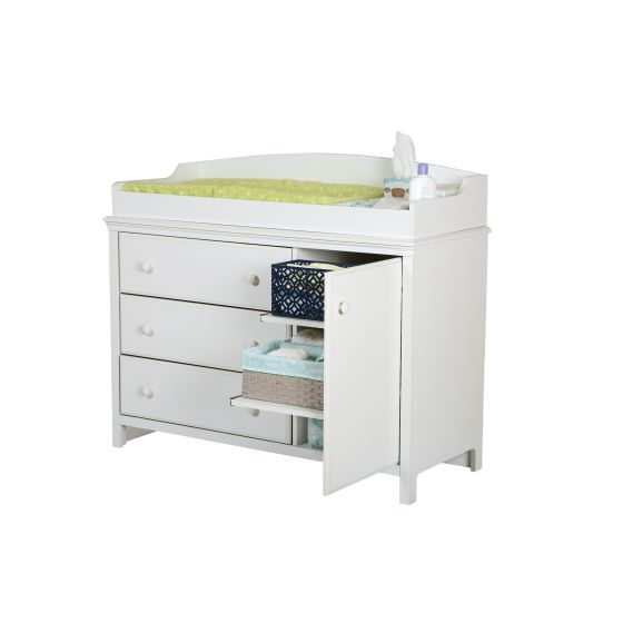 Cotton Candy Changing Table with Removable in Pure White