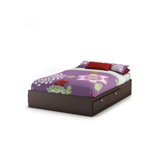 Spark Full Mates Bed (54'') with 4 Drawers Chocolate