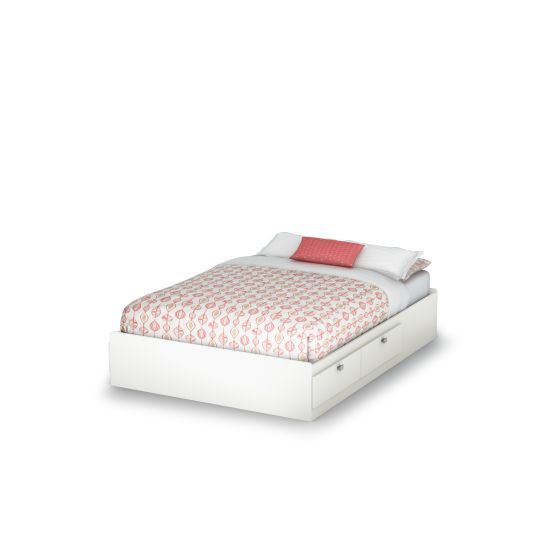 Spark Full Mates Bed (54'') with 4 Drawers Pure White