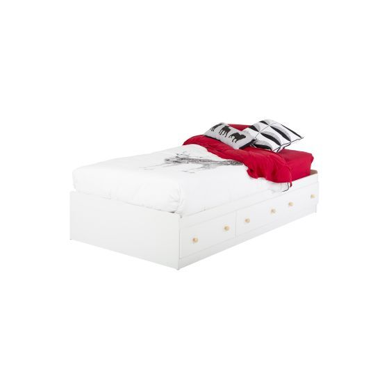 Summertime Twin Mates Bed with 3 Drawers Pure White