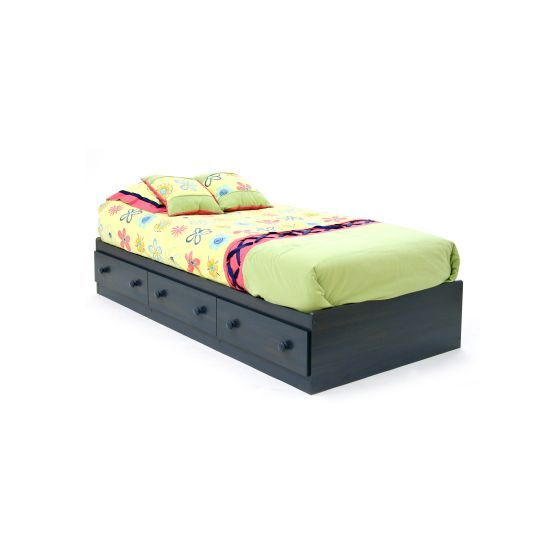 Summer Breeze Twin Mates Bed with 3 Drawers in Blueberry