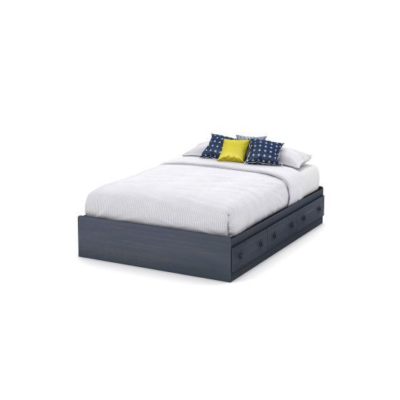 Summer Breeze Full Mates Bed with 3 Drawers in Blueberry