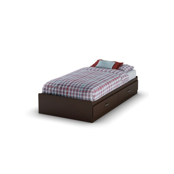 Logik Twin Mates Bed with 2 Drawers Chocolate