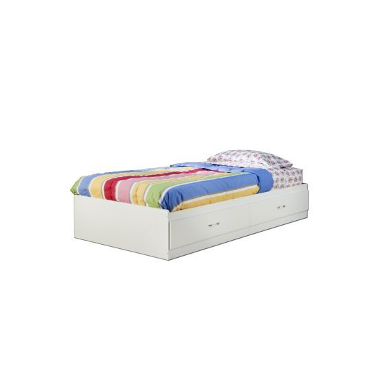 Logik Twin Mates Bed with 2 Drawers Pure White