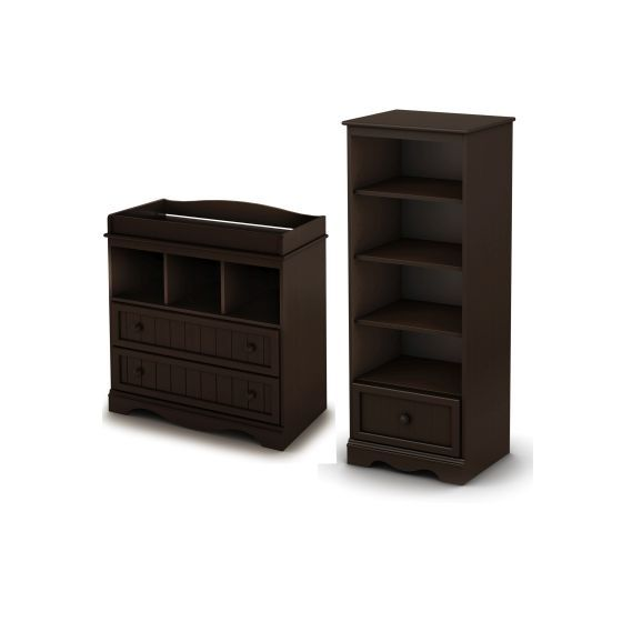 Savannah Changing Table and Shelving Unit in Espresso