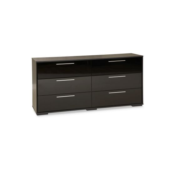 Mikka 6-Drawer Double Dresser Black Oak
