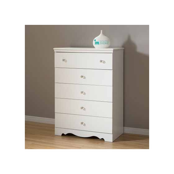 Crystal 5-Drawer Chest Pure White