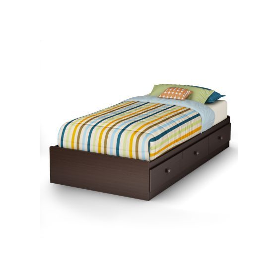 Zach Twin Mates Bed with 3 Drawers Chocolate
