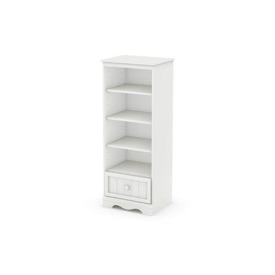 Savannah Shelving Unit with Drawer Pure White