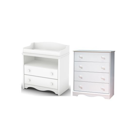 Angel Changing Table and 4-Drawer Chest Set Pure White