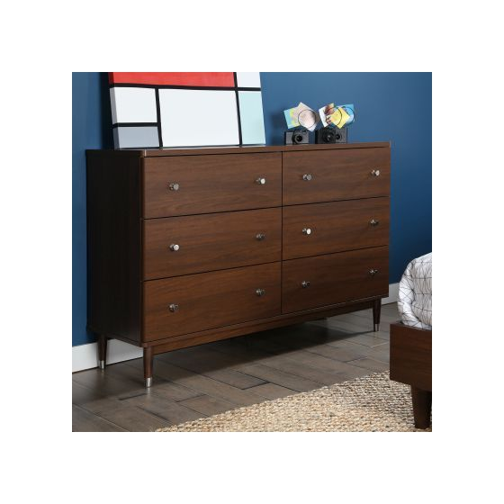 Olly Modern 6-Drawer Double Dresser in Brown Walnut