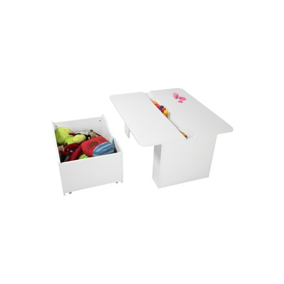Crea Kids Activity Table with Toy Box on Wheels Pure White