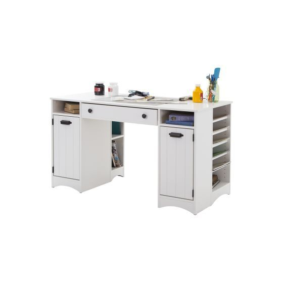Artwork Craft Table with Storage Pure White