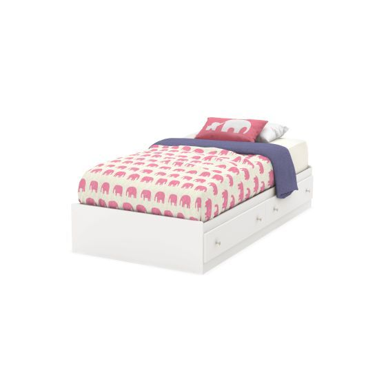 Litchi Twin Mates Bed with 2 Drawers Pure White