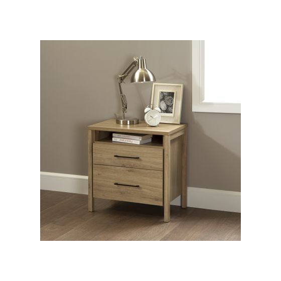 Gravity 2-Drawer Nightstand Rustic Oak