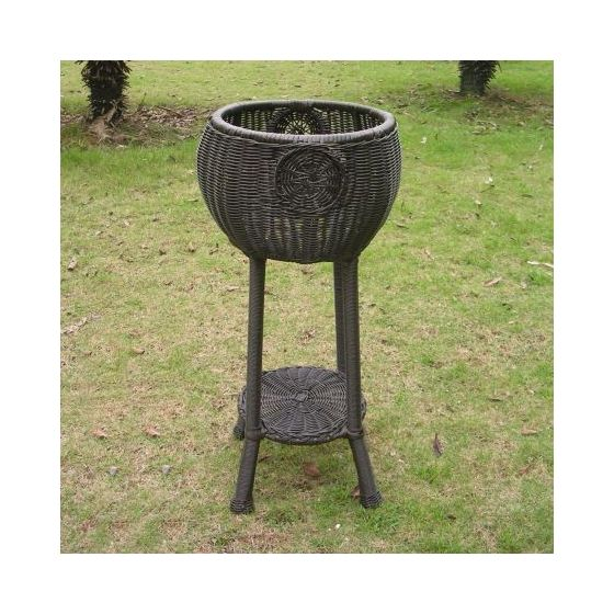 Round Resin Wicker Plant Stand in Antique Black