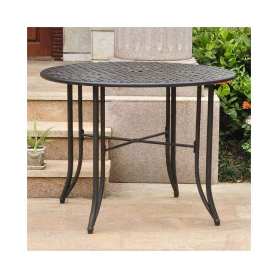 Mandalay Iron Outdoor 39'' Dining Table in Antique Black
