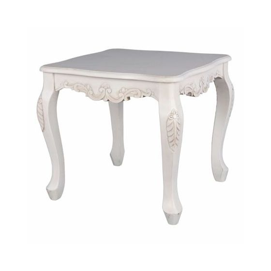 Square Carved Wood End Table In Antique White