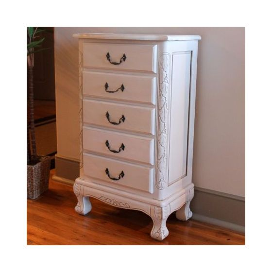 Five Drawer Carved Jewelry Chest in Antique White