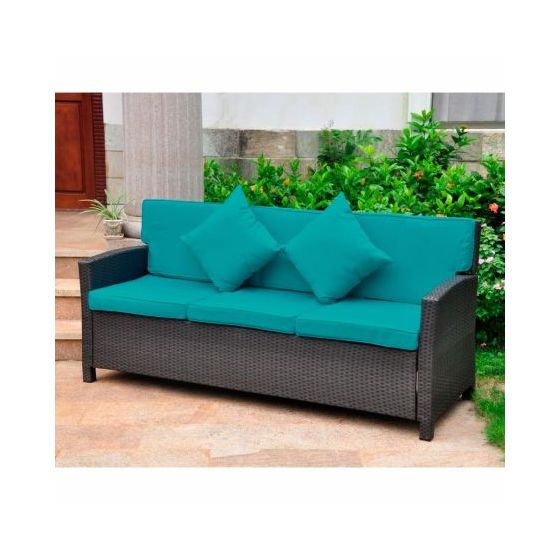 Valencia Wicker Seat Sofa with Cushion in Black Antique