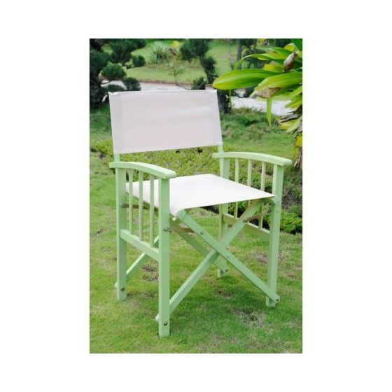 Set of 2 Directors Chair with Arms in Mint Green/Khaki