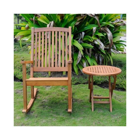 Nicosia Acacia Wood Rocker and Side Table in Stain