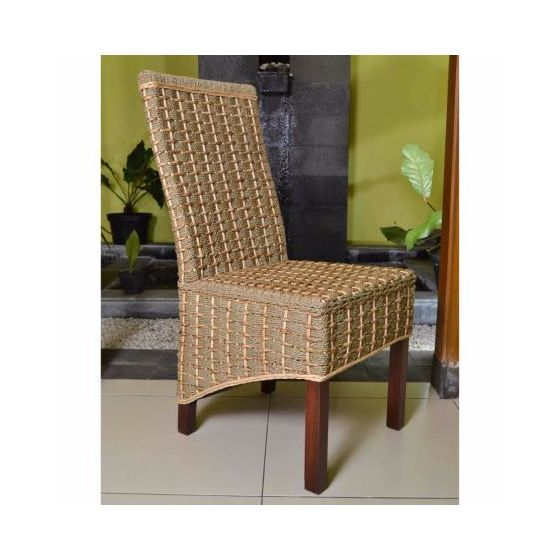 Bayu Banana & Seagrass Dining Chair in Brown Mahogany