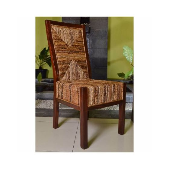 Dallas Abaca Weave Dining Chair in Brown Mahogany